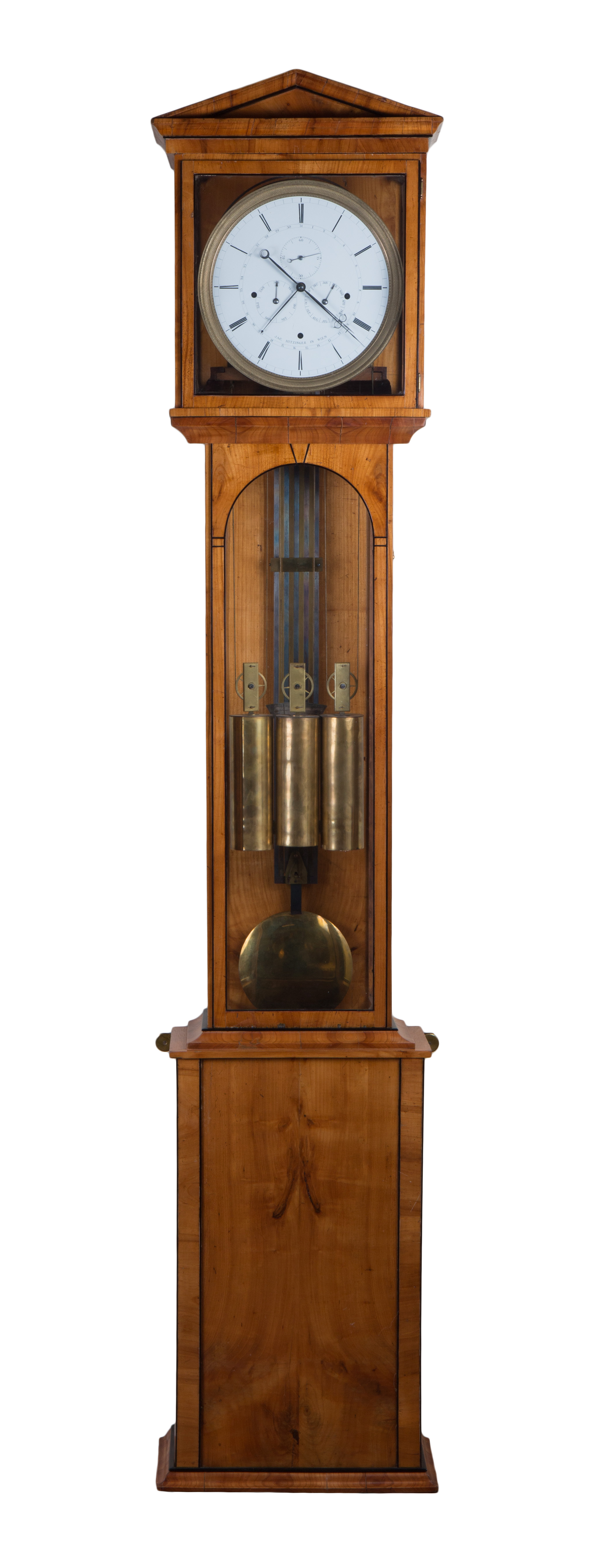 Longcase clock by Jacob Hitzinger with 6 months duration, c. 1830.