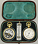 116. AN ENGLISH TRAVELLING SET WITH ANEROID BAROMETER, THERMOMETER AND COMPASS, unsigned, circa: 1890.