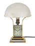 Chrome Art Deco Table Lamp with Clock