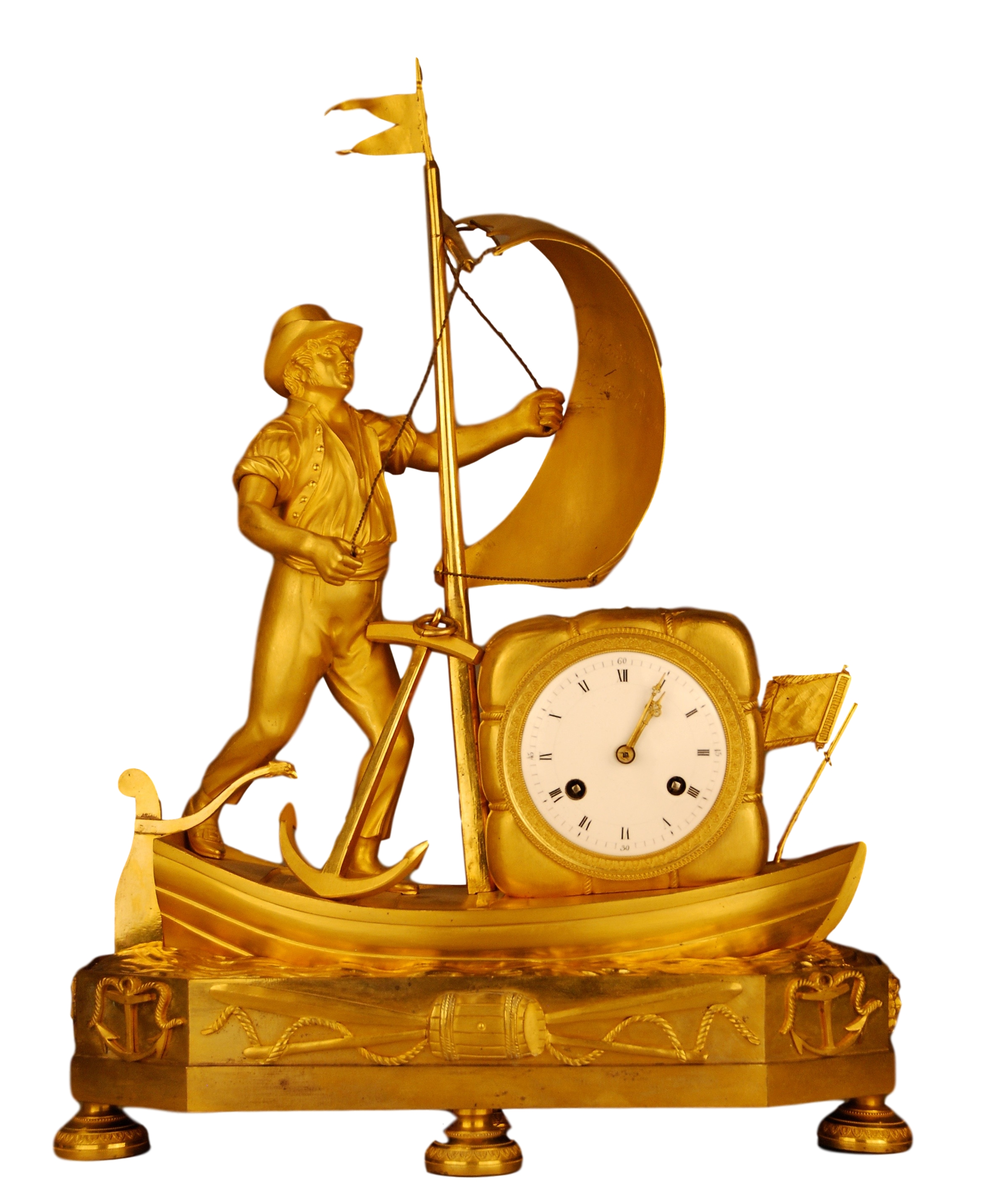 This antique gilt French Empire clock is from the rare group of clocks known as 'genre clocks' that often depicted everyday and amusing scenes from life and folklore.