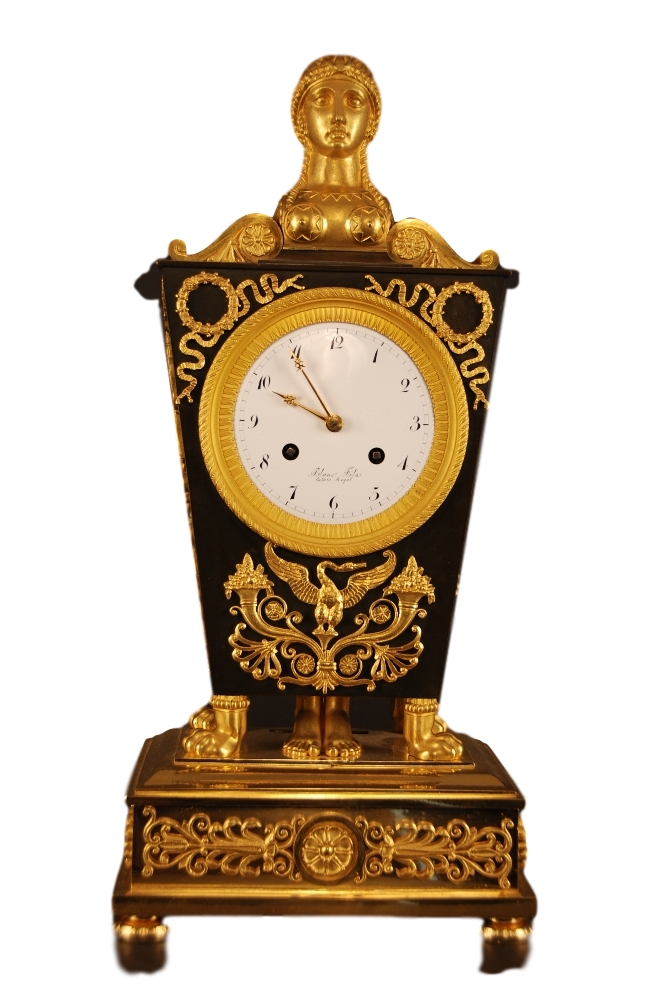 Movement on the dial signed Blanc Fils, Palais Royal. c.1810 Ormolu and Patinated Bronze Mantel Clock
