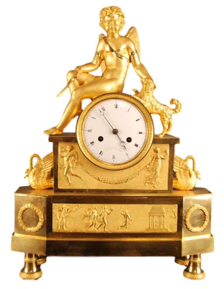 Quality bronze fire gilded mantelclock, signed on dial and backplate: 'Lesieur a Paris' ca. 1815