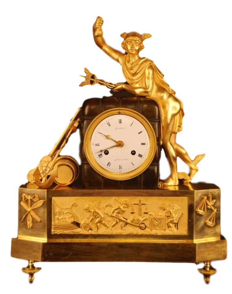 French clock, member of the 'Au bon Sauvage' familie, statue of 'Mercury/Hermes' Roman/Greek god of trades and thieves, signature: Cornu Thieri à Chalons sur Saône. Directoire, ca 1795.