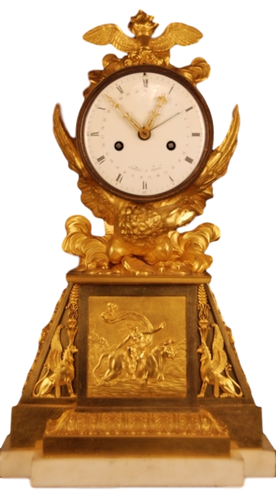 A very rare Directoire - 1793-95 - gilt bronze mantle clock of eight day duration, the white enamel dial signed Sallot à Paris