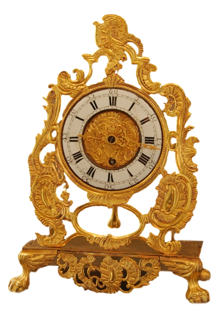 A rare and most unusual Louis XV mantel clock of fire-gilt ormolu signed by Henri Rossius A Liege.