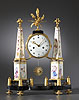 A very fine Louis XVI gilt bronze mounted Paris Porcelain and marble mantle clock