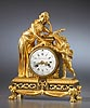 An very fine Louis XVI gilt bronze mantle clock of eight day duration signed on the white enamel dial Barancourt à Paris