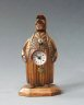 Zappler clock, wooden mascot figure, miniature clock, Paris  circa 1880.
