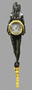 A fine French Empire patinated and gilt bronze Egyptian Revival wall clock with calendar