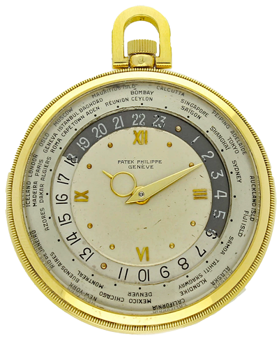 1946 18ct yellow gold 'World Time' pocket watch Ref: 605HU by Patek Philippe.