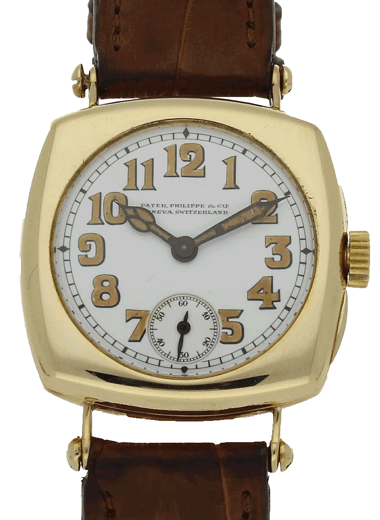 1920 18ct yellow gold cushion case wristwatch with enamel dial by Patek Philippe