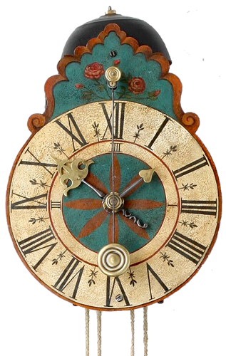 A lovely South German painted iron wall clock, circa 1710
