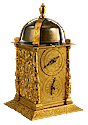 An antique German tabernacle clock (Türmchenuhr) c. 1590.