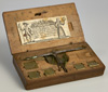 A German, antigue, coin balance in walnut box, Koln, mid 18th century.